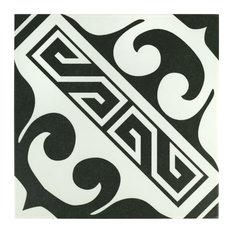 "9.75""x9.75"" Mali Porcelain Floor and Wall Tile, Black, Set of 16, Versalles"