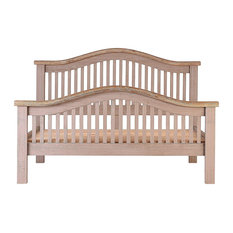 Grey Whitewash Oak Curved Bed, Queen