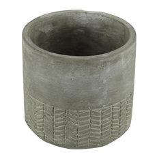 Round Cement Pot With Arrow Design