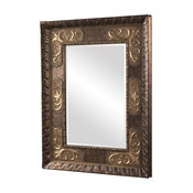 Tate Deep Bronze Mirror With Antique Bronze Accents Wood