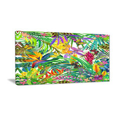 """Tropical Leaves and Flowers"" Floral Canvas Artwork, 40""x20"""