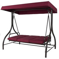 Burgundy Outdoor Patio Deck Porch Canopy Swing, Cushions
