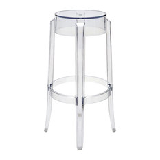 klipper clear acrylic modern round barstool pair bar stools and counter stools
