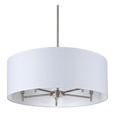 Walker 5-Arm Chandelier Drum In Brushed Nickel Finish With White Linen Shade