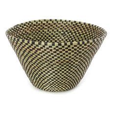 Swahili African Modern Black Checkerboard Funnel Basket