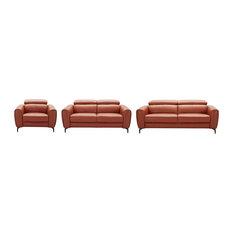 Cooper 3-Piece Leather Sofa Set Pumpkin