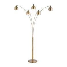 Artiva AMORE LED Arch Floor Lamp With Dimmer, Antique Satin Brass