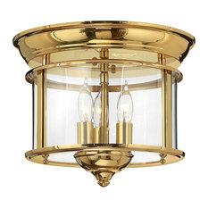 Gentry Timeless Flush Ceiling Light, Polished Brass