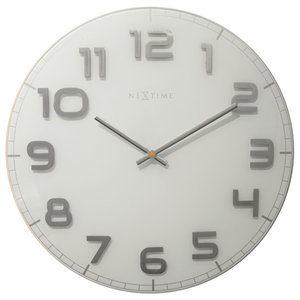 Nextime Classy Large Wall Clock, White and Silver