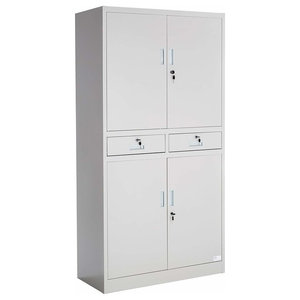 Modern Storage Cupboard, Grey Finished Metal With Lockable Doors and Drawers