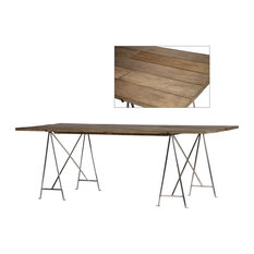 87-inchL Salomone Dining Table One Of A Kind Wooden Planks Metal Base