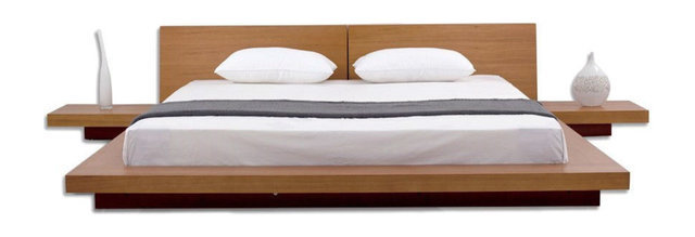 King Size Modern Japanese Style Platform Bed With Headboard