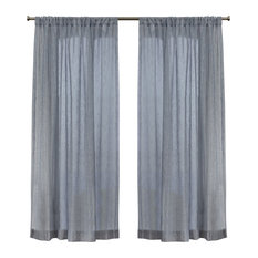 "Itaji Sheer Rod Pocket Top Curtain Panels, Set of 2, Melrose Blue, 54""x63"""