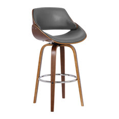 "Armen Living - Mona 26"" Counterstool, Walnut Wood Finish & Gray Faux Leather - Bar Stools and Counter Stools"