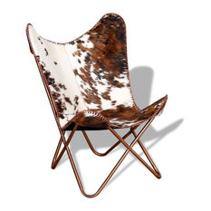 vidaXL Butterfly Chair Real Cowhide Leather Brown and White Sleeper Hide Seat
