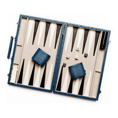 Brouk & Co - New School Backgammon Set, Blue Ostrich Leather - Board Games and Card Games