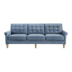 TOV Furniture - Jonathan Velvet Sofa, Blue - Sofas