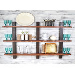 """JNMRustics - Open Display Shelving, Kitchen Storage Solutions, 48"""" Shelf - Modern Rustic Decor. Beautiful 3 tier solid wood shelving for storage or display. Unit is hand stained so there will be grain variation unique to each piece. Shelving features clean design and multiple 2 tone finishes."""