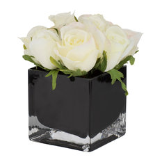 Potted Artificial White Roses in Black Vase