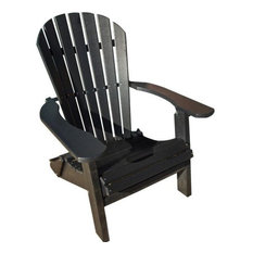 Phat Tommy Recycled Poly Resin Folding Deluxe Adirondack Chair Furniture, Black