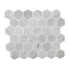 Honeycomb Hex Honed Mosaic, Bianco Carrara, 12''x12''