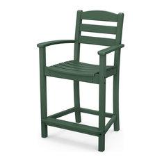 Polywood La Casa Cafe Counter Arm Chair, Green