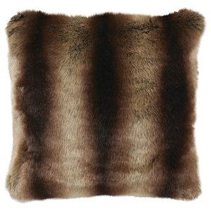 Striped Faux Fur Cushion, White and Brown
