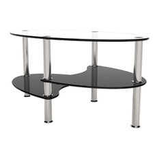 Ryan Rove Orion 38 Inch Oval Two Tier Clear and Black Glass Coffee Table