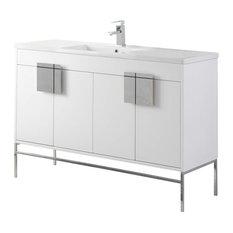 Shawbridge 48-inch Single Sink Bathroom Vanity White Polished Chrome Hardware
