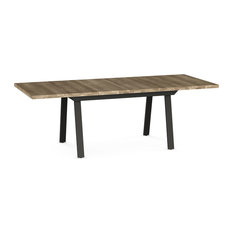 Kane Metal and Wood Extendable Table, Base: Textured Dark Brown, Top: Beige