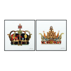 """""""Crowns"""" Printed Wall Art Glass Encased With Black Anodized Aluminum Frame"""
