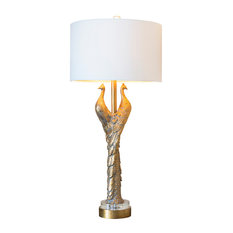 """Golden Peacock Table Lamp, 38.5""""H"""