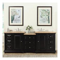 """Silkroad 90.5"""" Transitional Double Sink Bathroom Vanity"""