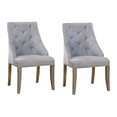 Diocles Contemporary Wingback Chairs, Silver Finish, Set of 2