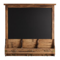 Stallard Decorative Rustic Wood Framed Chalkboard With Hooks, Rustic Brown