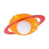 1 Light Children Ceiling Flush Light, Orange Planet