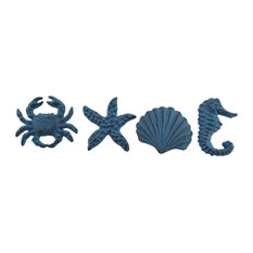 Set of 4 Blue Cast Iron Coastal Drawer Pull Nautical Cabinet Accent Sea Knobs B