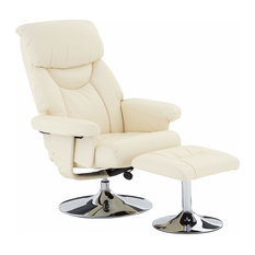 Modern Recliner with Footstool in Faux Leather, Adjustable Height, Cream