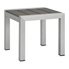 Shore Outdoor Patio Aluminum Side Table, Silver Gray