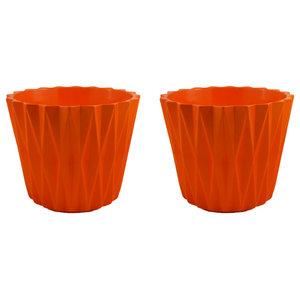 Geometric Planter, Set of 2, Vibrant Orange