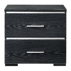 15-inchx22-inchx23-inch Black High Gloss Wood Veneer Paper Nightstand