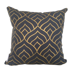 Dome Cushion Cover, Gold Ink on Navy Linen