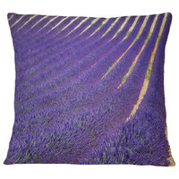"Lavender Blooming Fields as Texture Landscape Wall Throw Pillow, 18""x18"""