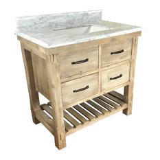 "Roland Single-Sink Bathroom Vanity With Carrara White Marble Top, 36"""