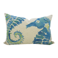 Seahorse Linen Throw Pillow, Blue