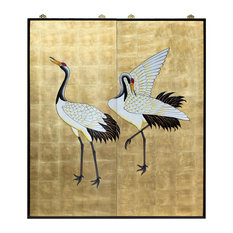 2-Piece Gold Leaf Hand-Painted Crane Wall Plaque Set