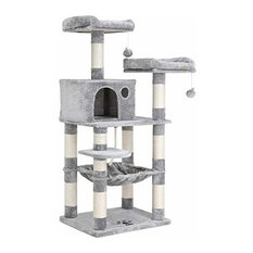 """FEANDREA 58"""" Multi-Level Cat Tree With Sisal-Covered Scratching Posts, Light Gra"""