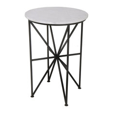 Contemporary End Tables, Geometric Shaped Metal Base With Round Marble Top