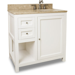 """36"""" Astoria Modern Vanity in Cream White with Preassembled Top and Bowl"""