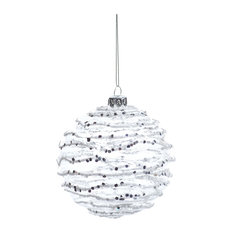 """4"""" White and Silver Wave Christmas Ball Ornaments, Set of 6"""